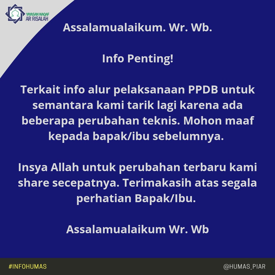 Klarifikasi Alur PPDB Ar Risalah