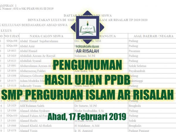 PENGUMUMAN HASIL UJIAN PPDB SMP PERGURUAN ISLAM AR RISALAH TP. 2019/2020