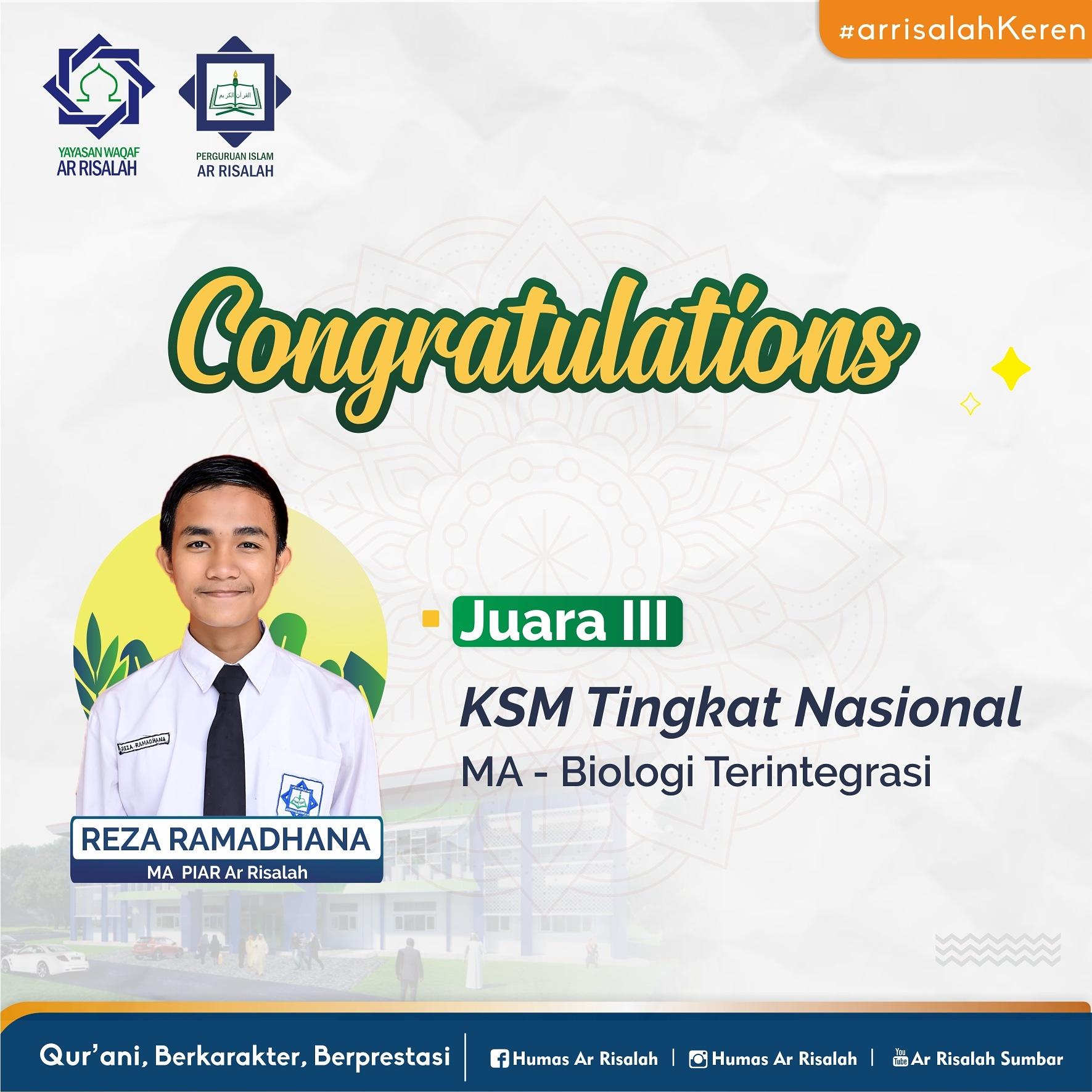 Siswa MA Ar Risalah Kembali Torehkan Prestasi di ajang KSM Nasional