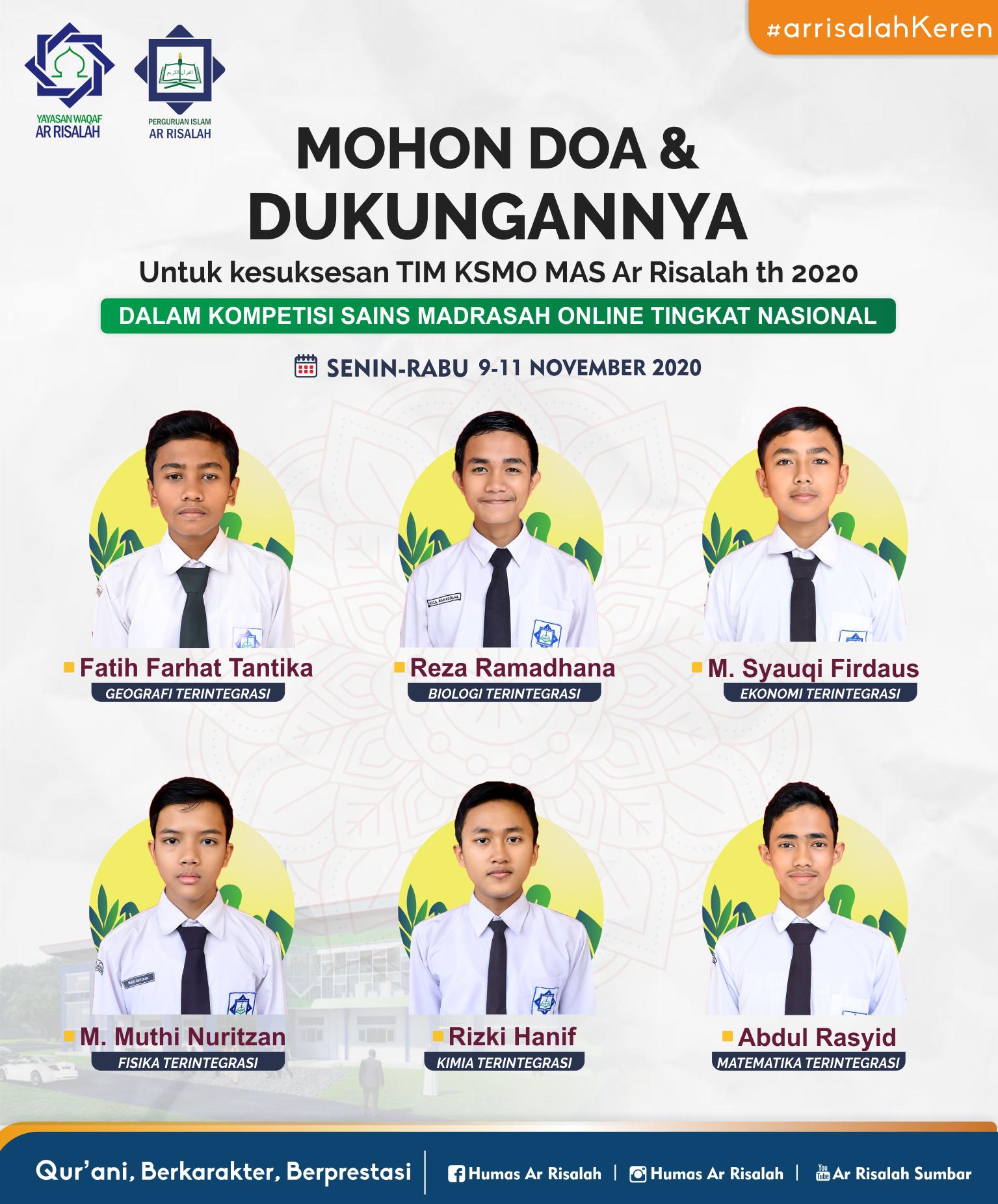 6 Siswa MA AR Risalah Berlaga di Ajang KSMO Nasional