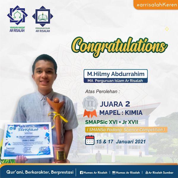 Siswa MAS Perguruan Islam Ar Risalah Ukir Prestasi di SMAPSiC XVI