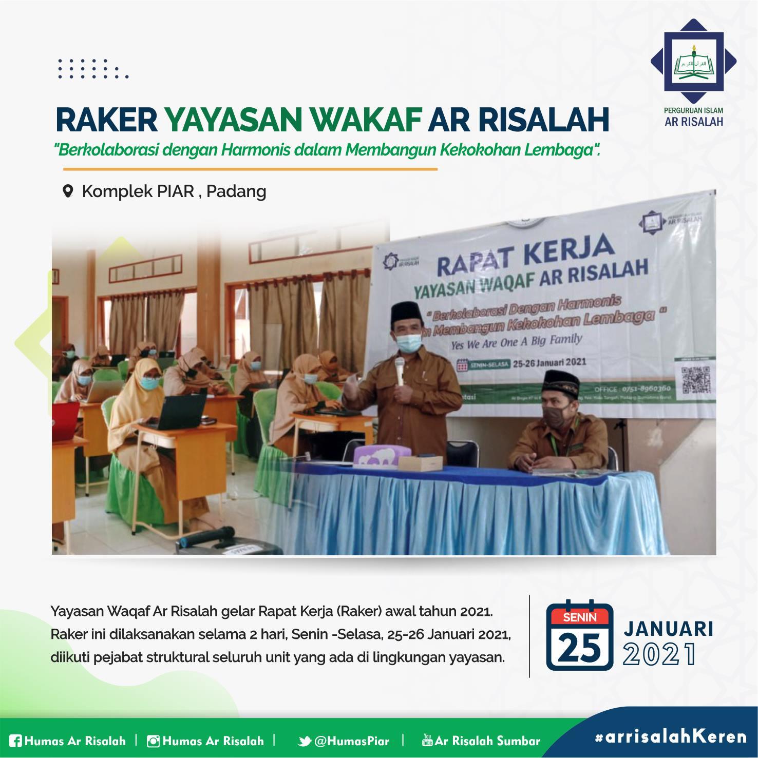 Yayasan Waqaf Ar Risalah gelar Rapat Kerja (Raker) awal tahun 2021