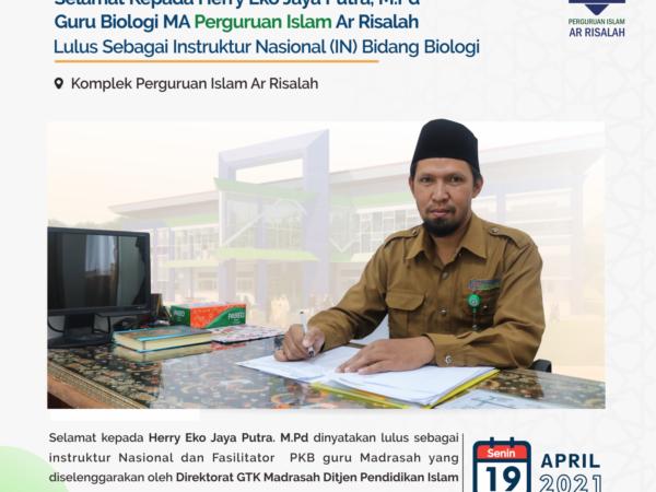 PLT KABID HRD Yayasan Waqaf Ar Risalah lulus sebagai Instruktur Nasional (IN) Bidang Biologi