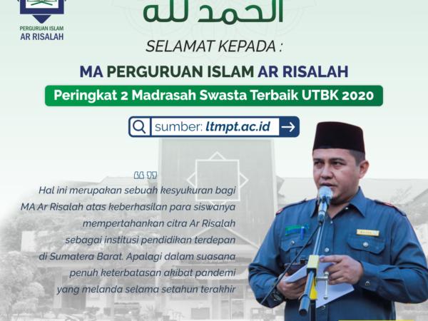 MA Ar Risalah Peringkat 2 Madrasah Swasta Terbaik UTBK 2020