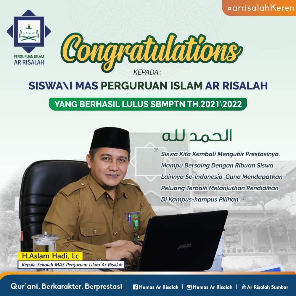 49 Siswa MAS Perguruan Islam Ar Risalah Padang Diterima di Kampus Terbaik Nasional