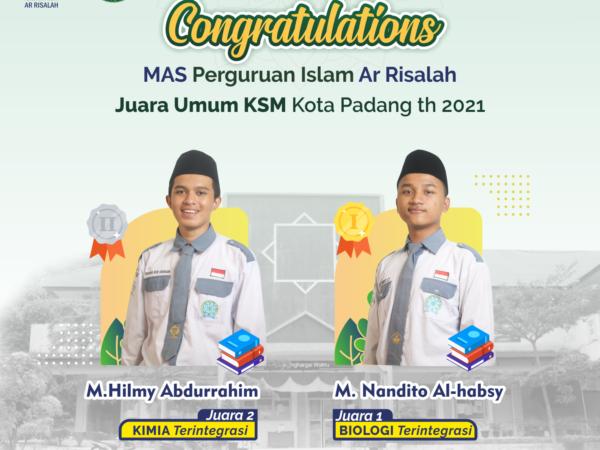 Raih Juara Umum di Kota Padang, 4 Siswa MAS Perguruan Islam Ar Risalah Melaju ke KSM Provinsi